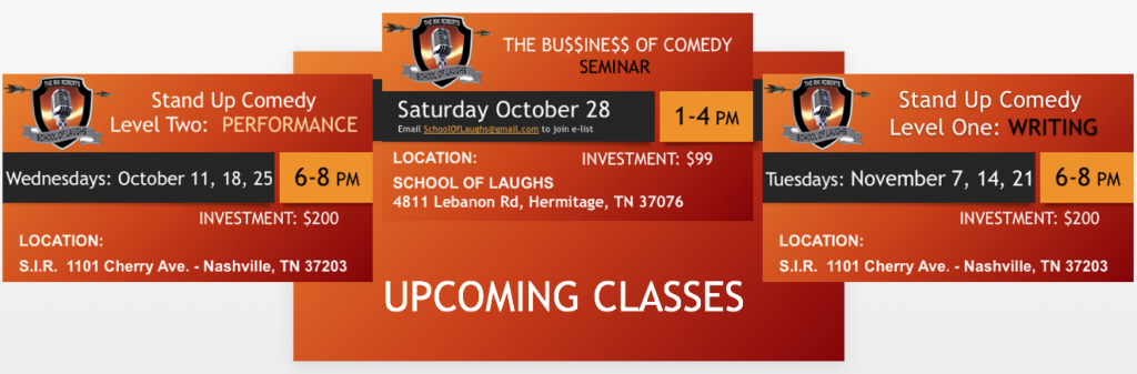 upcoming comedy classes